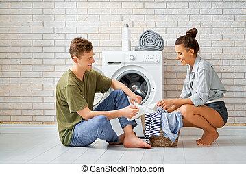 párosít, mosoda, szerető