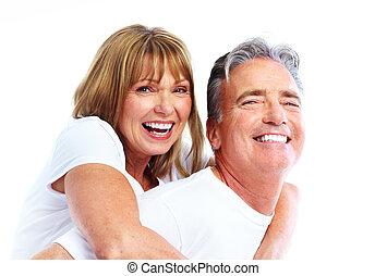 párosít, mosolygós, idősebb ember