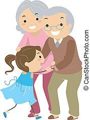 párosít, nagyszülő, stickman, unoka