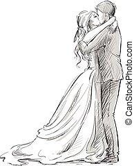 párosít, newlywed, kiss., esküvő