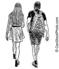 párosít, nyár nap, fiatal, sétál, gyalogló, emberek, skicc