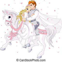 párosít, romantikus, ló, fehér