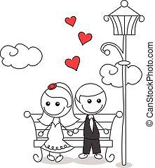 párosít, szórakozottan firkálgat, esküvő