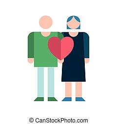 párosít, szerelmes pár, érzés, szeret szív, ikon