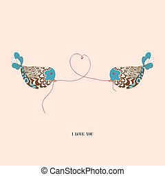 párosít, szeret madár, kedves
