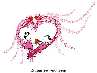 párosít, szeret, romantikus