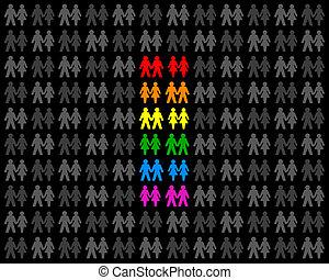 párosít, szivárvány, lobogó, homoszexuális