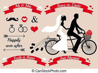 párosít, tandem bicikli, esküvő