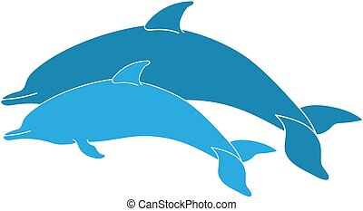 párosít, ugrás, delfinek