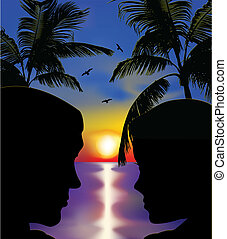 párosít, vektor, szeret, sunset.