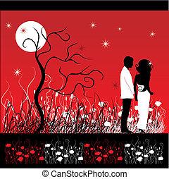 párosít, virág, jár, kaszáló, éjszaka
