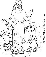 pásztor, körvonalazott, jézus