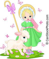 pásztorlány, bárány, kevés