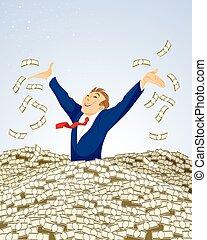 pénz, üzletember, úszás