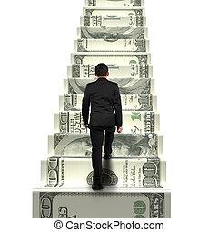 pénz, üzletember, gyalogló, hátsó kilátás, lépcsősor