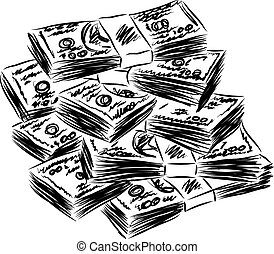 pénz, american dollars, ábra