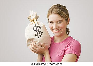 pénz, birtok, nő, táska