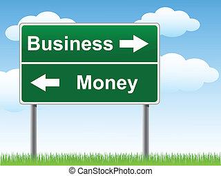 pénz, cégtábla., ügy, út