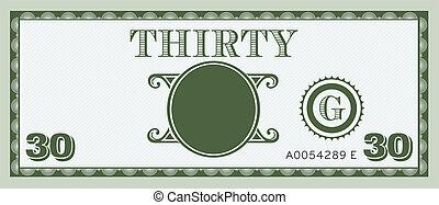 pénz, kép, számla, harminc, jel