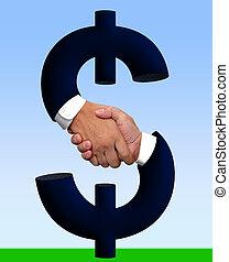 pénz, kézfogás, aláír