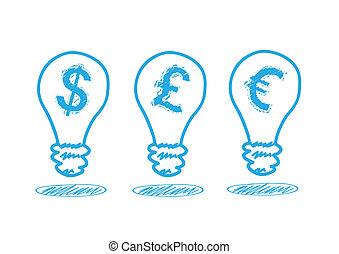 pénz, lámpa icon