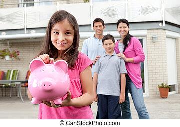 pénz, leány, megmentés, hát, család