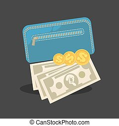 pénz, levéltárca, shopping., készpénz., pénztárca