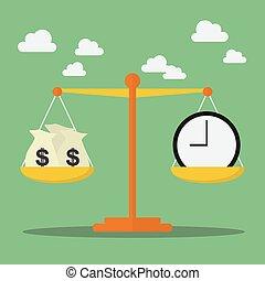 pénz, mérleg, egyensúly, idő