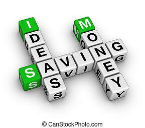 pénz, megmentés, gondolat, keresztrejtvény