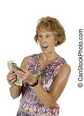 pénz, nő, ököl, tele