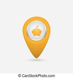 pénz, sárga cégtábla, vektor, falánk, ikon, part, elhelyezés