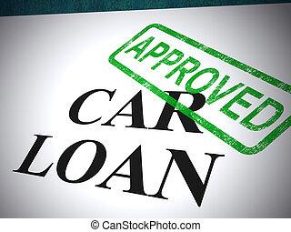 pénzel, bélyeg, autó, kölcsönad, elfogadás, -, ábra, alkalmazás, autó, látszik, jóváhagyott, 3
