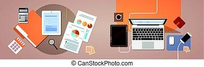 pénzel, dolgozat, kilátás, tabletta, tető, számítógép, ábra, szög, laptop, jelent, okmányok, workplace, íróasztal