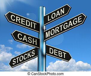 pénzel, jelzálog, útjelző tábla, kölcsönad, kölcsönvevés, hitel, adósság, kiállítás