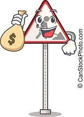 pénzestáska, út, betű, karikatúra, munka, aláír, alakít