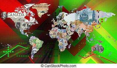 pénznem, háttér, világ térkép