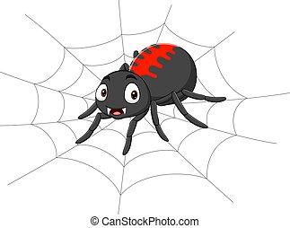 pókháló, karikatúra, pók