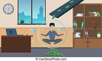 póz, üzletember, felül, lakás, banknotes, öv, pénz, felett, kézbesítő, kipiheni magát, style., elmélkedik, halmok, munkás, lótusz, multitasking., him., concept., vektor, room., ábra, hivatal