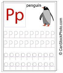 p, alphabet., angol, worksheet, levél, tanul, gyerekek