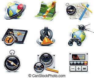 p.1, vektor, navigáció, icons., gps