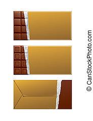 package., csokoládé, arany, csomagolás, tiszta