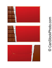 package., csokoládé, piros, csomagolás, tiszta