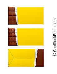 package., csokoládé, sárga, csomagolás, tiszta