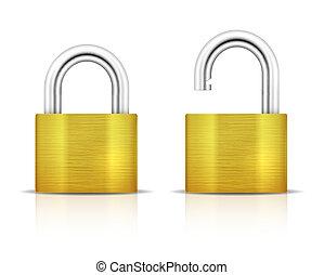 padlock., belakatol, fémből való, bezárt, kulccsal be nem zárt
