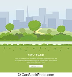 page., area., külső, felhőkarcoló, szín, modern, cityspace, város, szórakozási, homepage, közönség, website, városi, kert, szabad, természet, liget, leszállás, sétány, bitófák, botanikai, bokrok, liget, vektor, zöld