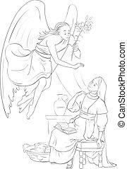 page., közlemény, színezés, angyal, gabriel, megtestesülés, jézus, mária, kinyilatkoztatás