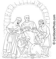 page., mária, színezés, keresztény, színhely, három, horoszkóp, józsef, jézus, király, karácsony