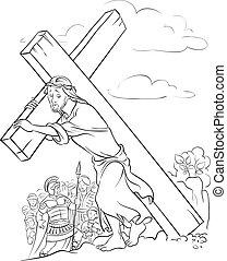 page., színezés, szállítás, kereszt, jézus