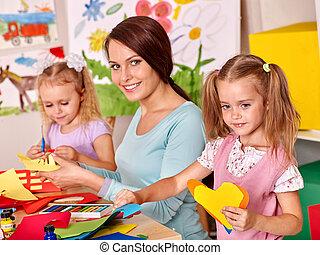 painting., tanár, gyerekek
