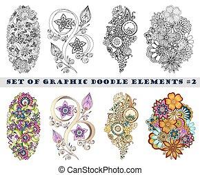 paisley, állhatatos, hennabokor, mehndi, doodles, element.